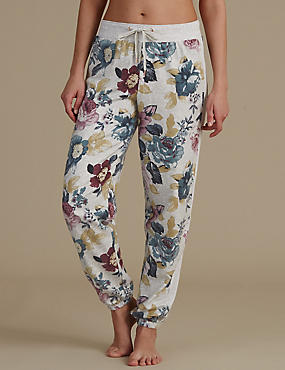 Floral Print Pyjama Bottoms, BLUE MIX, catlanding