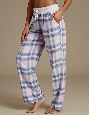 Checked Straight Leg Pyjama Bottoms, PINK MIX, catlanding
