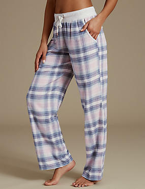 Bas de pyjama coupe droite à carreaux, ROSE ASSORTI, catlanding