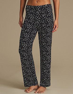 Star Print Straight Leg Pyjama Bottoms, BLACK MIX, catlanding