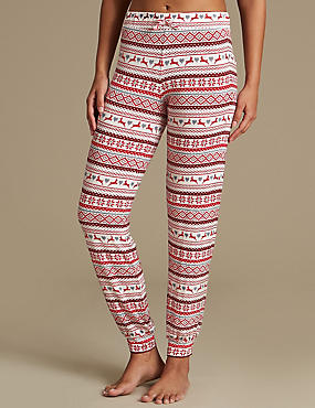 Fairisle Print Cuffed Hem Pyjama Bottoms, OATMEAL MIX, catlanding