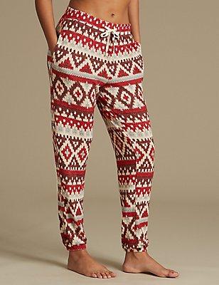 Bas de pyjama à ourlet resserré et imprimé jacquard, AVOINE ASSORTI, catlanding