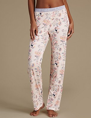 Floral Print Straight Leg Pyjama Bottoms, BLUE MIX, catlanding