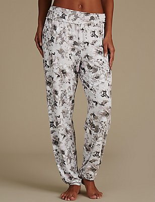 Floral Print Cuffed Hem Pyjama Bottoms, GREY MIX, catlanding