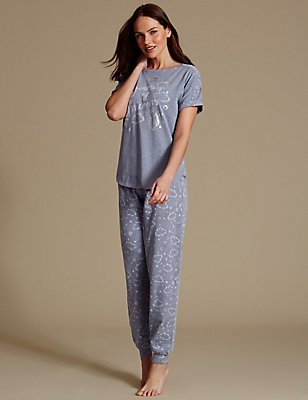 Printed Short Sleeve Pyjama Set, NAVY MIX, catlanding
