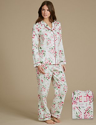 Pure Cotton Floral Print Revere Collar Pyjamas, CREAM MIX, catlanding