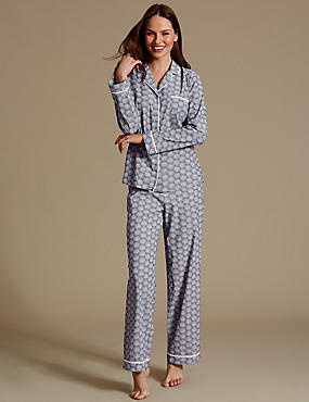 Bedruckter Langarmschlafanzug aus reiner Baumwolle, BLAU MELANGE, catlanding