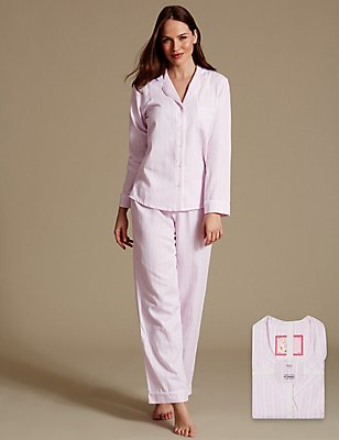 Pure Cotton Striped Long Sleeve Pyjama Set, PINK MIX, catlanding