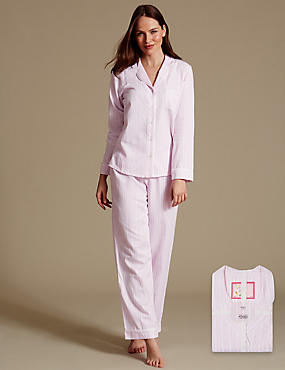 Gestreifter Langarmschlafanzug aus reiner Baumwolle, ROSA MELANGE, catlanding