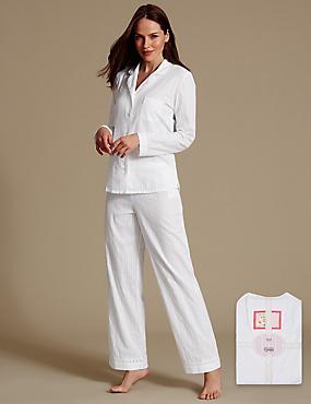 Pure Cotton Striped Long Sleeve Pyjama Set, WHITE MIX, catlanding