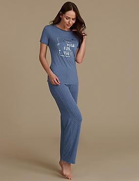 Leaf Print Short Sleeve Pyjama Set, BLUE MIX, catlanding