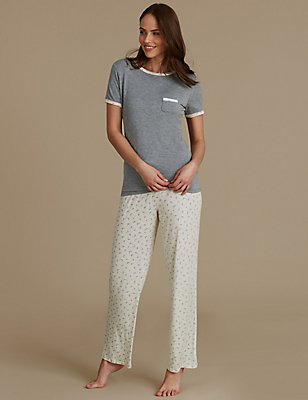 Leaf Print Short Sleeve Pyjamas, GREY MIX, catlanding