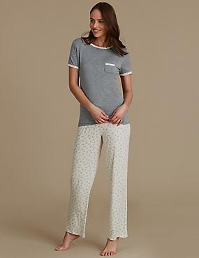 Leaf Print Short Sleeve Pyjama Set, GREY MIX, catlanding