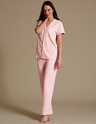Daisy Print Pyjamas with Cool Comfort™ Technology, PINK MIX, catlanding