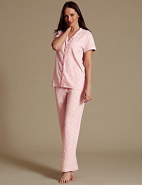 Schlafanzug aus Modalmischgewebe mit Gänseblümchenmuster, ROSA MELANGE, catlanding