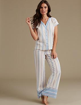 Pure Cotton Printed Short Sleeve Pyjamas, BLUE MIX, catlanding