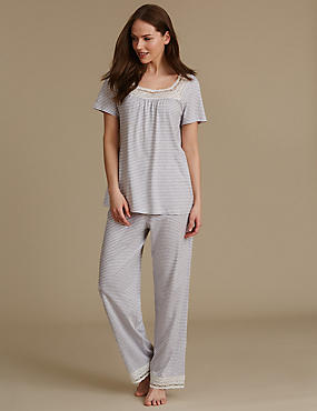 Modal Blend Crochet Trim Striped Pyjamas, GREY MIX, catlanding