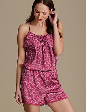 Heart Print Short Pyjama Set, MAGENTA, catlanding