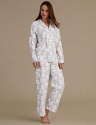 Pure Cotton Revere Collar Pyjama Set, GREY MIX, catlanding