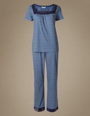 Пижама Cool Comfort™ с вязаным кружевом M&S Collection T371649J