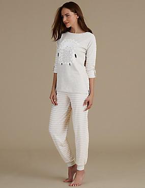 Ensemble pyjama à rayures avec texte «Sheep», GRIS ASSORTI, catlanding