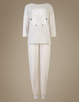 Пижама в полоску Sheep Slogan M&S Collection T371654J