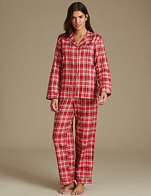 Cotton Rich Checked Pyjamas, RED MIX, catlanding