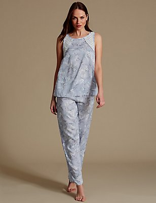Pure Modal Printed Sleeveless Pyjama Set, LIGHT BLUE MIX, catlanding