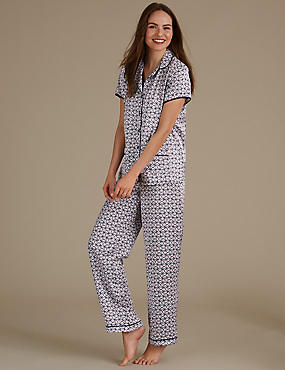 Geometric Print Revere Collar Pyjama Set, NAVY MIX, catlanding
