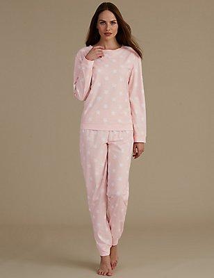 Sumptuously Soft Star Print Pyjama Set, PINK MIX, catlanding