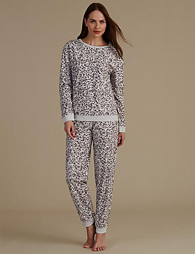 Animal Print Long Sleeve Pyjama Set, GREY MIX, catlanding