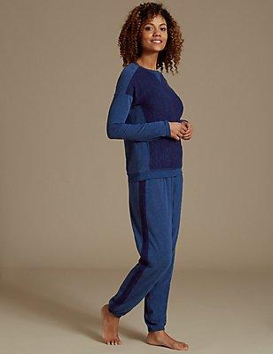 Floral Print Long Sleeve Pyjama Set, NAVY, catlanding