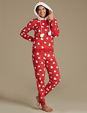 Fleece Heart Print Long Sleeve Pyjamas, RED MIX, catlanding