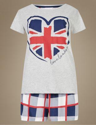 """Принтованная пижама с дизайном """"британский флаг"""" M&S Collection T371663J"""