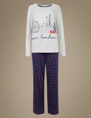 Хлопковый пижамный костюм Navy Mix M&S Collection T371664J