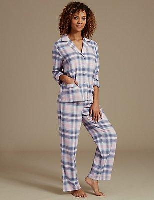 Cotton Rich Checked Long Sleeve Pyjamas, PINK MIX, catlanding