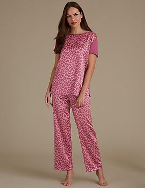 Satin Heart Print Short Sleeve Pyjama Set, MAGENTA, catlanding