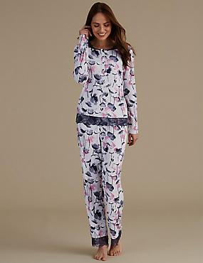 Floral Print Lace Trim Pyjama Set, GREY MIX, catlanding