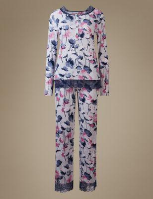 Пижамный комплект с цветами и кружевной отделкой M&S Collection T371669J