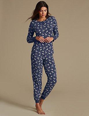 Pyjama en coton à manches longues et imprimé animal , BLEU MARINE ASSORTI, catlanding