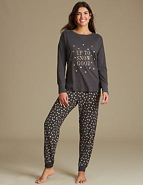 Cotton Rich Snow Print Long Sleeve Pyjamas, CHARCOAL, catlanding