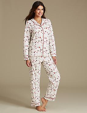 Cotton Rich Star Print Long Sleeve Pyjamas, OATMEAL MIX, catlanding