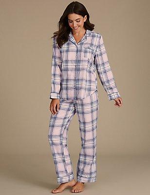 Pyjama 100% coton à carreaux et encolure à revers, BLEU ASSORTI, catlanding