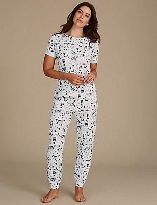 Cotton Rich Cat Print Short Sleeve Pyjamas, OATMEAL MIX, catlanding