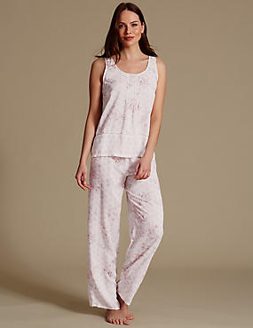 Pure Modal Printed Sleeveless Pyjama Set, CREAM MIX, catlanding