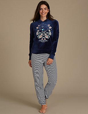 Printed Long Sleeve Pyjamas, NAVY MIX, catlanding