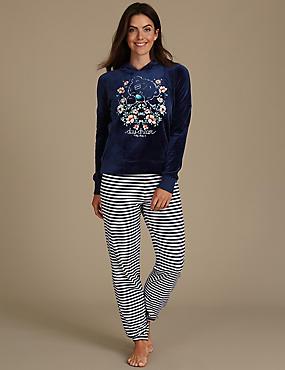 Printed Long Sleeve Pyjamas, NAVY MIX, catlanding