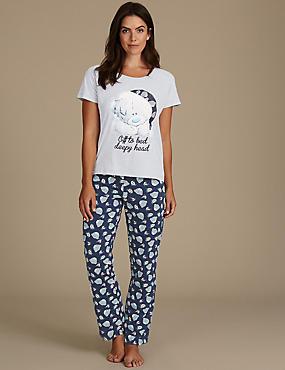 Printed Short Sleeve Pyjamas, NAVY MIX, catlanding