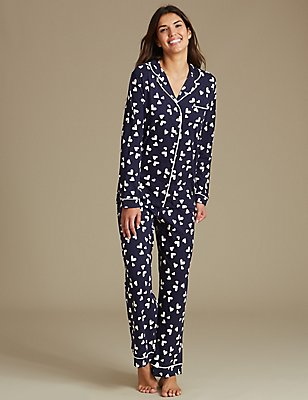 Pure Cotton Heart Print Pyjamas, NAVY MIX, catlanding