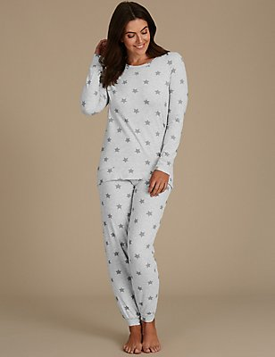 Cotton Rich Star Print Long Sleeve Pyjamas, GREY MIX, catlanding